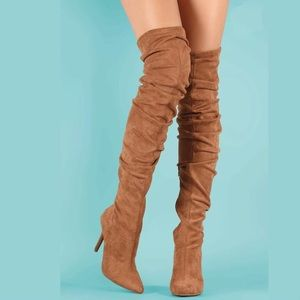 New Women Mocsfs vegan Suede Slouchy Boot Sexy